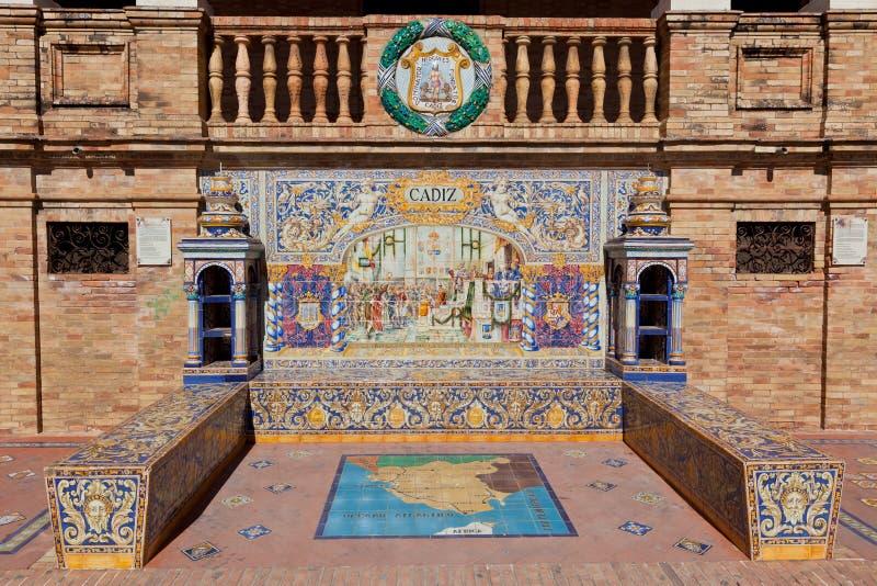 Paredes de Plaza de Espana em Sevilha, Espanha fotos de stock