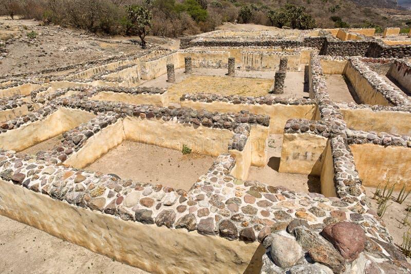 Paredes de ruínas do zapotec de Yagul em Oaxaca México foto de stock