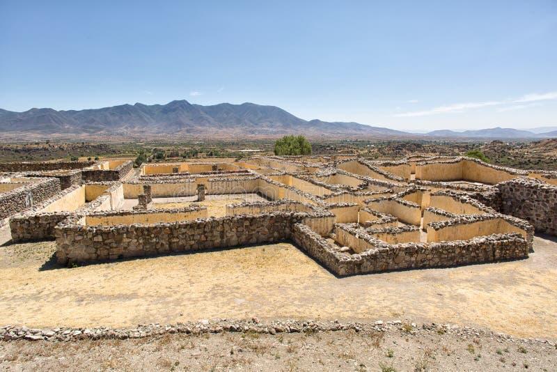 Paredes de ruínas de Yagul em Oaxaca México imagens de stock royalty free