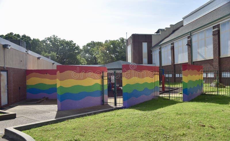 Paredes del arco iris en Gaston Park de Memphis Park Commission imágenes de archivo libres de regalías