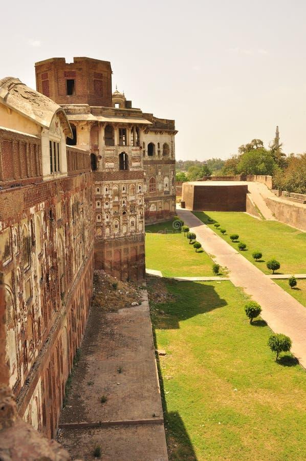 Paredes del fuerte de Lahore, Paquistán foto de archivo libre de regalías