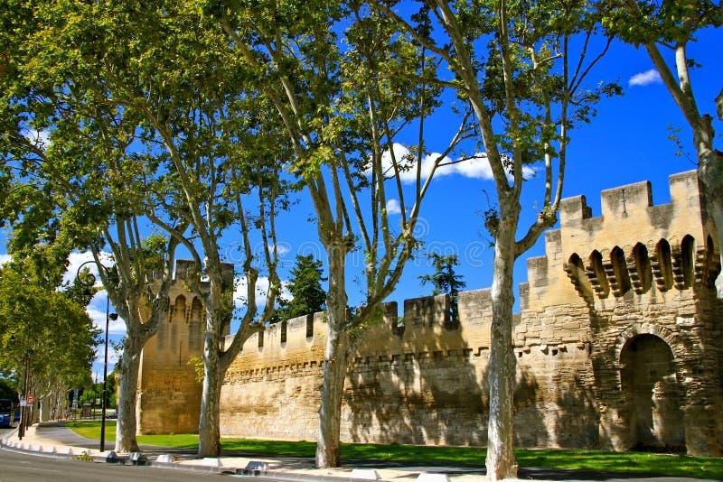 Paredes medievales de la ciudad, Avignon, Francia foto de archivo libre de regalías