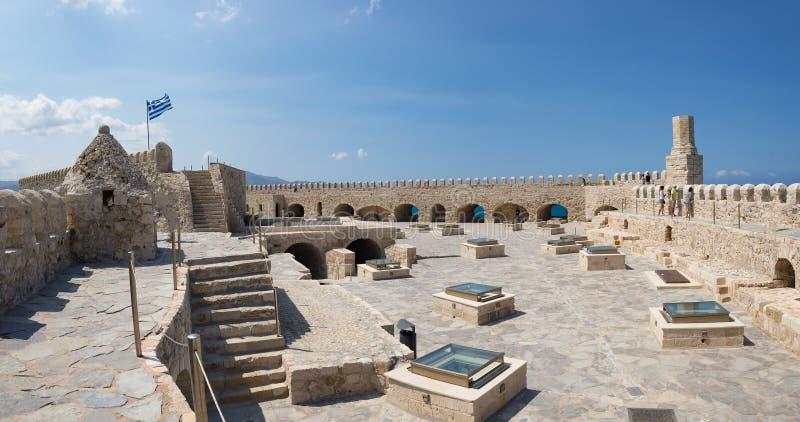 Paredes medievales panorama, Creta del castillo de la fortaleza pública de la ciudad de Heraklion fotografía de archivo