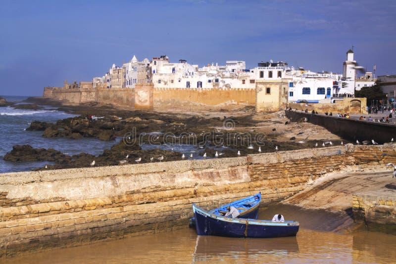 Paredes mediterrâneas portuguesas velhas da cidade de Essaouira Marrocos imagens de stock royalty free