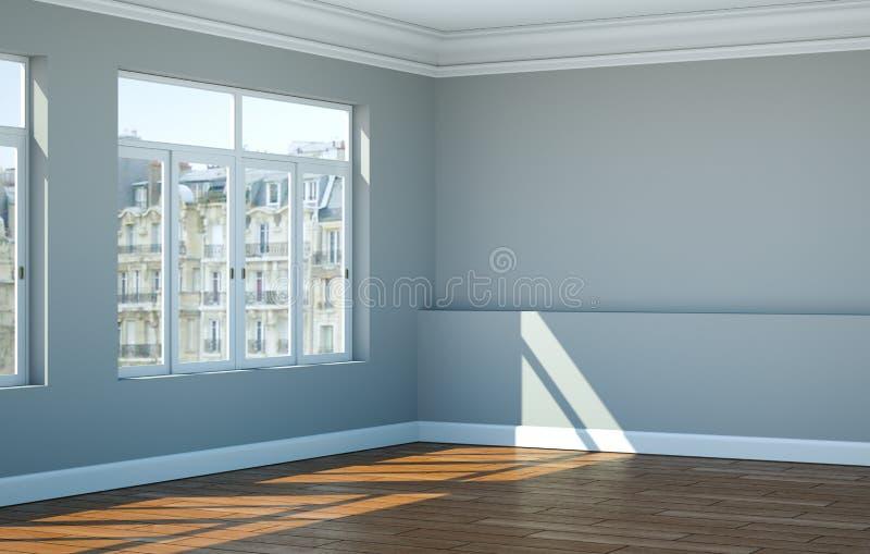 Paredes vazias, janelas e parquet do branco cinzento da sala ilustração royalty free