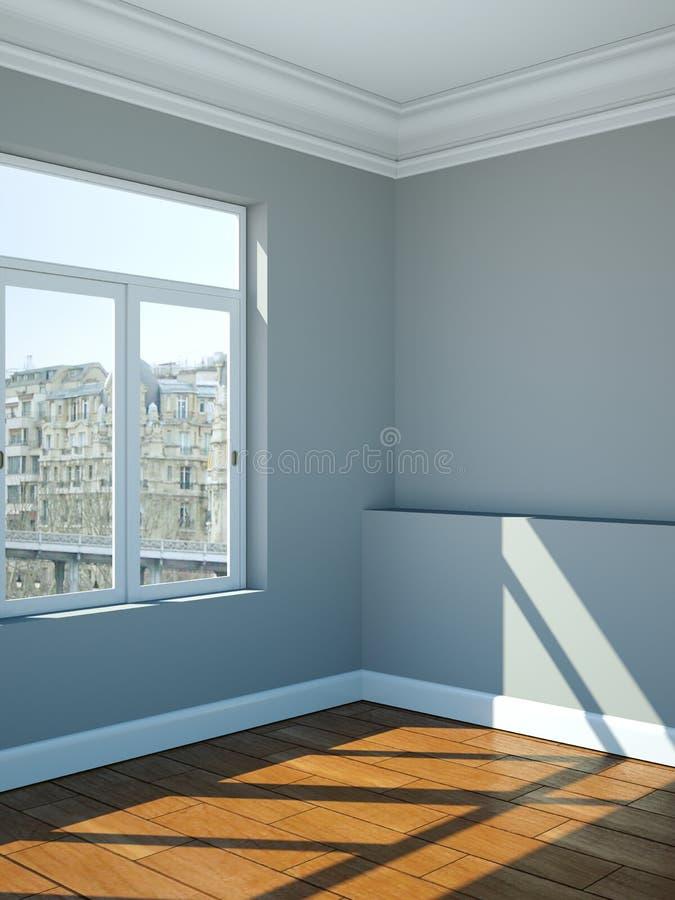 Paredes vazias, janelas e parquet do branco cinzento da sala ilustração do vetor