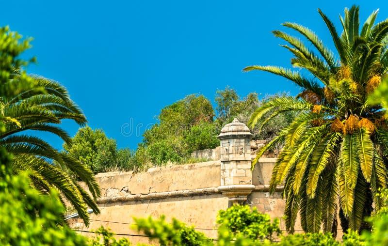Paredes velhas da cidade em Oran, Argélia fotografia de stock