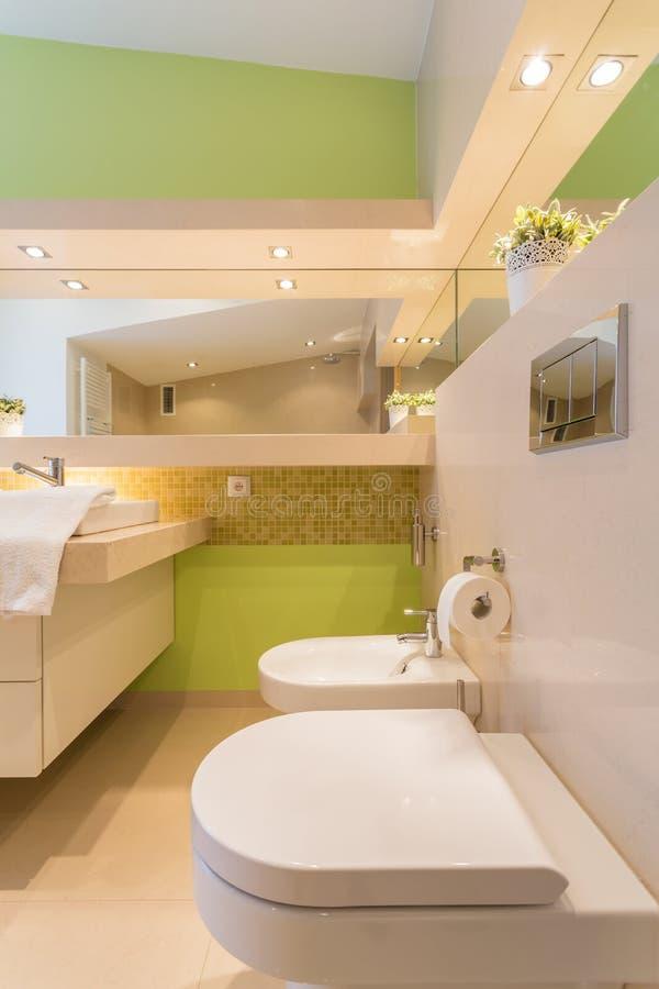Paredes verdes no grande banheiro imagens de stock