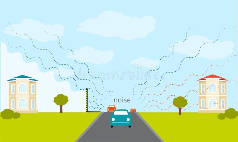 Paredes y cerca de la barrera del tráfico del ruido Aislamiento sano libre illustration