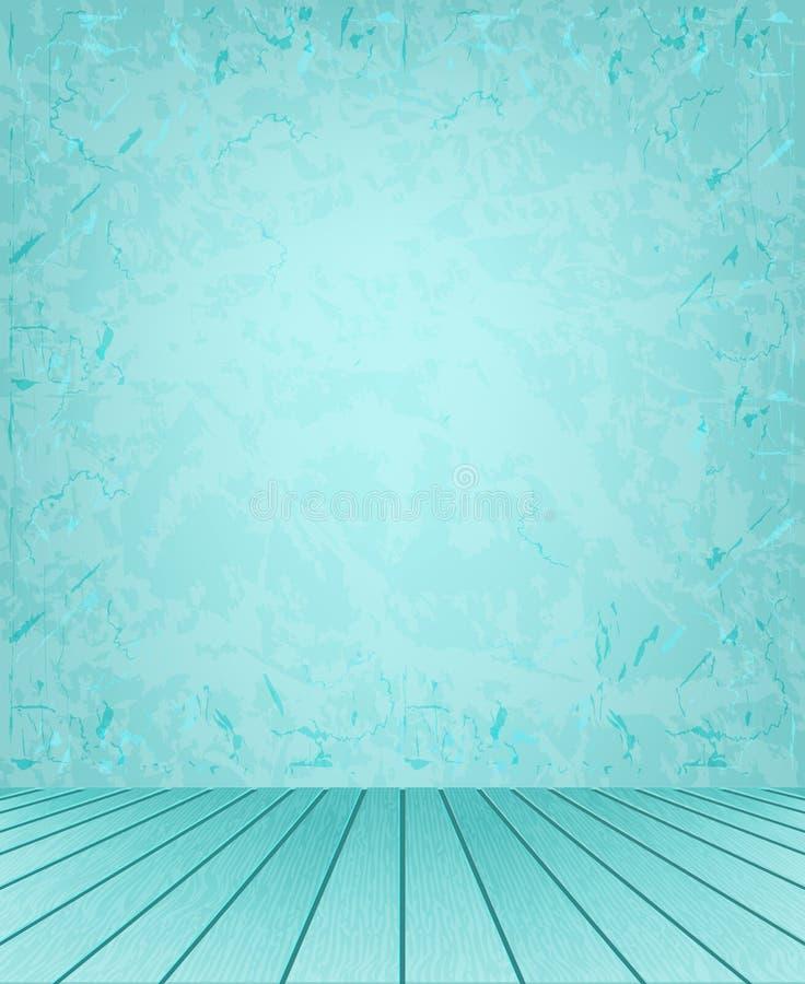 Paredes y piso azules stock de ilustración
