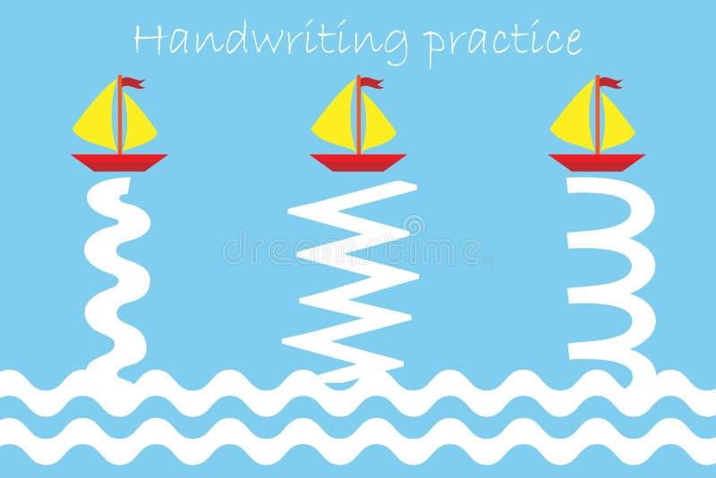 Pareggi la pista delle navi e delle onde, lo strato di pratica della scrittura, l'attività prescolare dei bambini, il gioco educa royalty illustrazione gratis