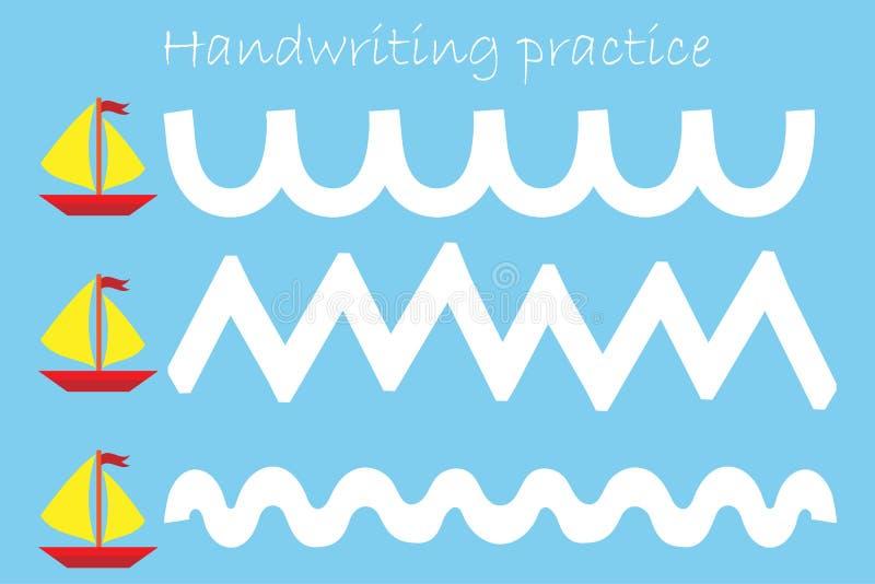 Pareggi la pista delle navi, lo strato di pratica della scrittura, l'attività prescolare dei bambini, il gioco educativo dei bamb illustrazione vettoriale