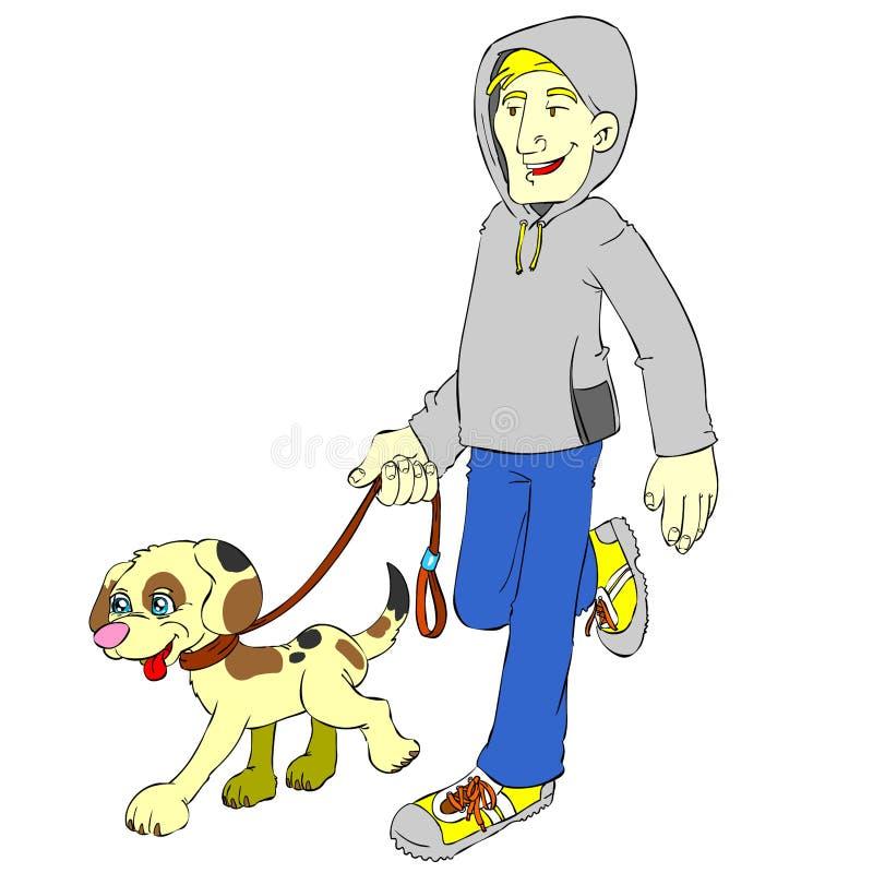 Pareggiare isolato del cane e dell'uomo illustrazione vettoriale