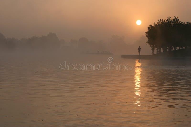 Pareggiatore di mattina nella nebbia fotografia stock