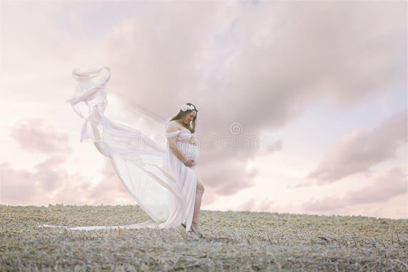 PAregnant kobieta w polu zdjęcie royalty free