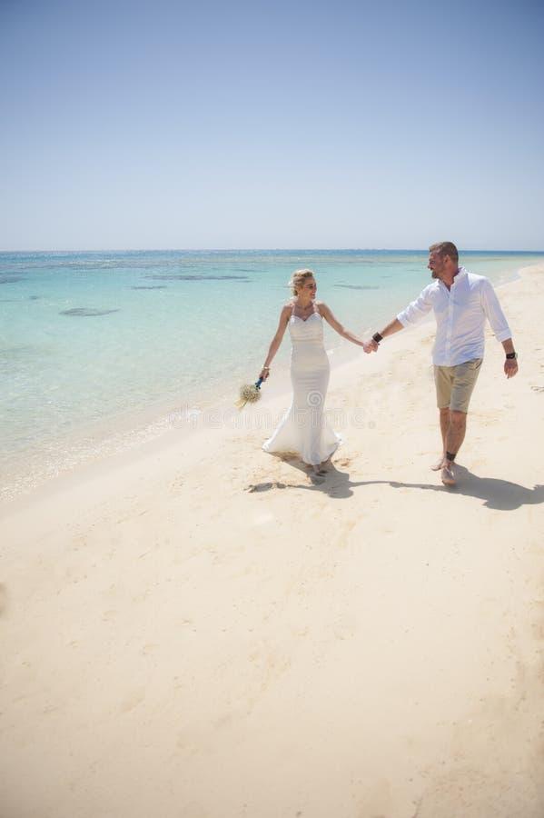 Pareja casada hermosa en un día de boda tropical de playa fotografía de archivo