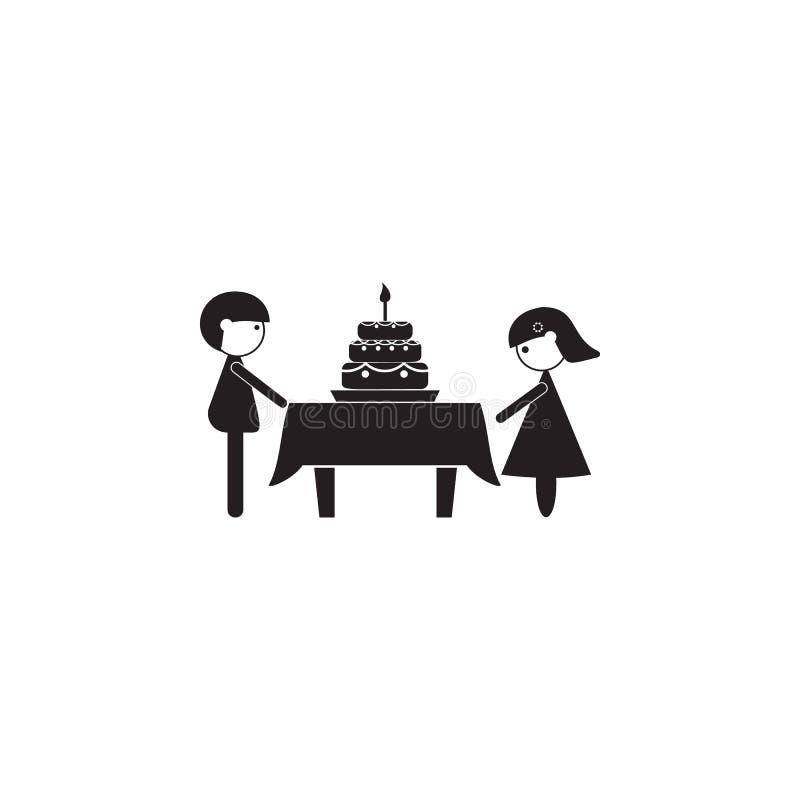 pareja casada que celebra el icono del aniversario Ejemplo del icono de los valores familiares Diseño gráfico de la calidad super stock de ilustración