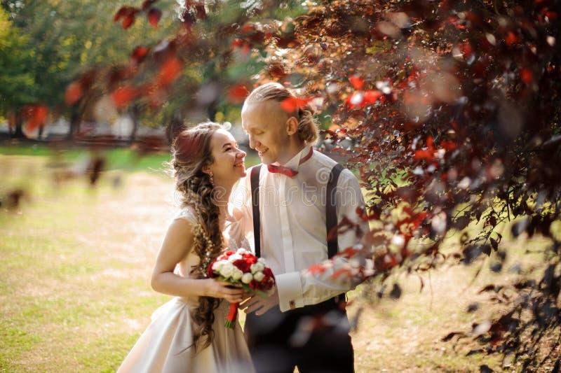 Pareja de matrimonios sonriente que camina en un parque verde fotografía de archivo libre de regalías