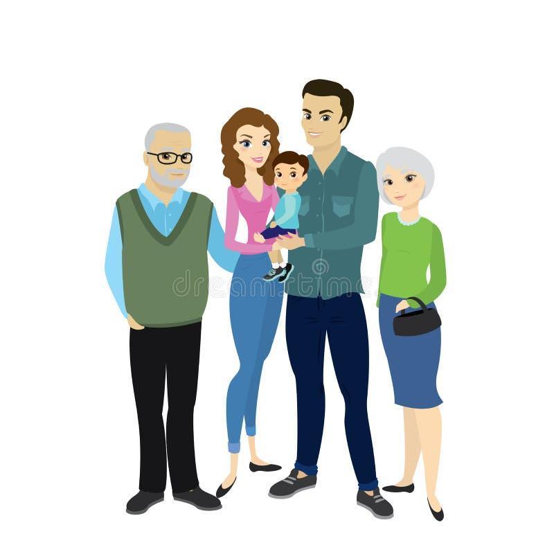 Pareja feliz hermosa de la familia con el hijo y la abuela, grandfath stock de ilustración