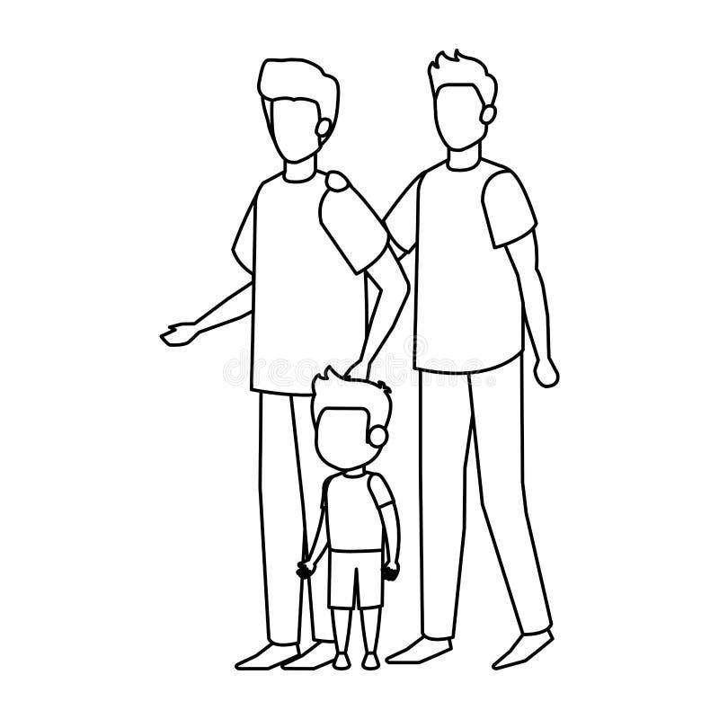 Pareja gay con el hijo stock de ilustración