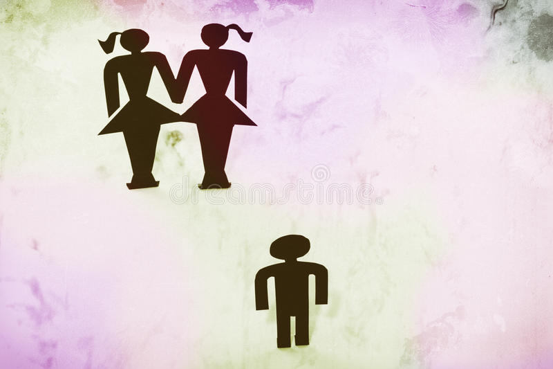 Pareja homosexual con el niño, estatuillas, matrimonio homosexual, deseo para el niño imágenes de archivo libres de regalías