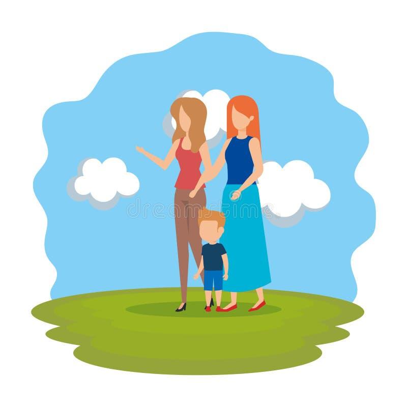 Pareja lesbiana con el hijo en el parque stock de ilustración