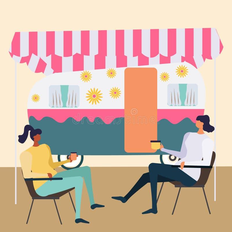 Pareja sentada frente a un camper decorado stock de ilustración