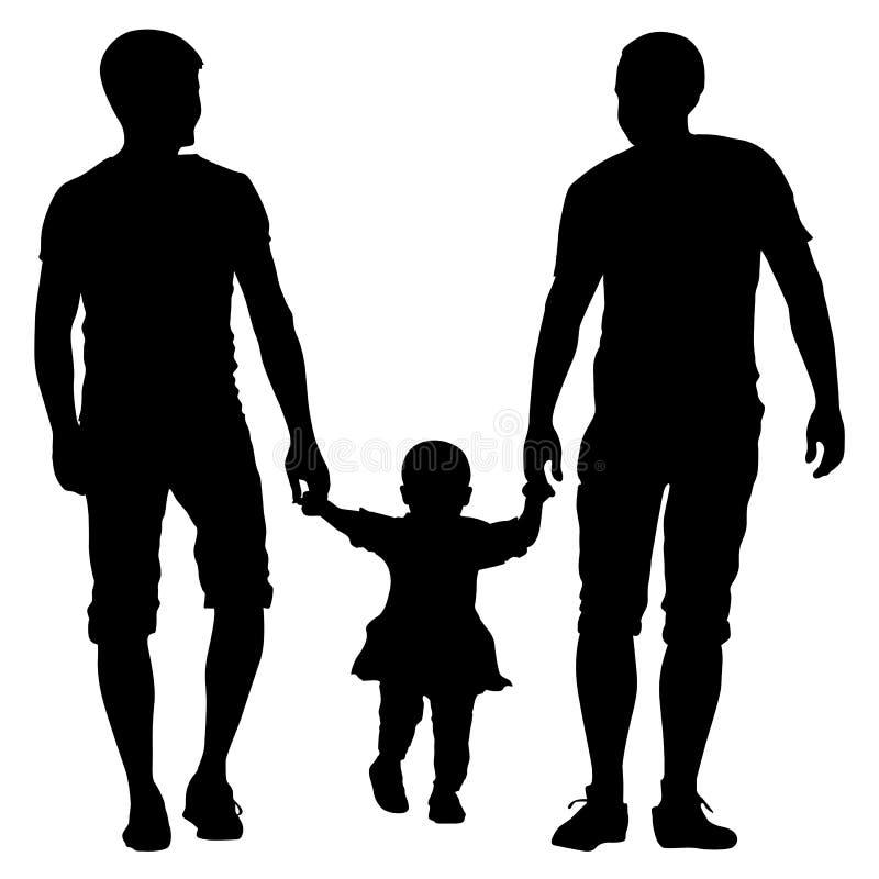 Parejas gay y familia de las siluetas negras con los niños stock de ilustración