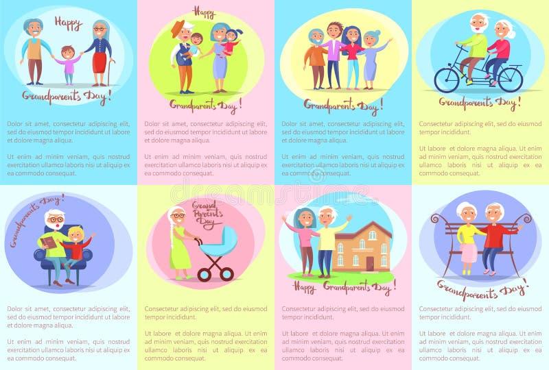 Parejas mayores y niños del día feliz de los abuelos stock de ilustración