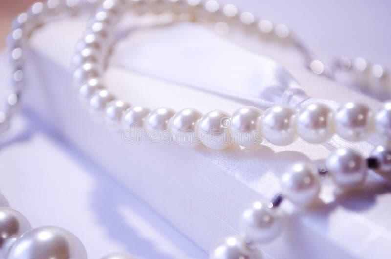 parel De halsband van de parel Een sneeuwwitte parelhalsband Juwelen voor meisjes Juwelen voor vrouwen De parelhalsband van vrouw royalty-vrije stock foto