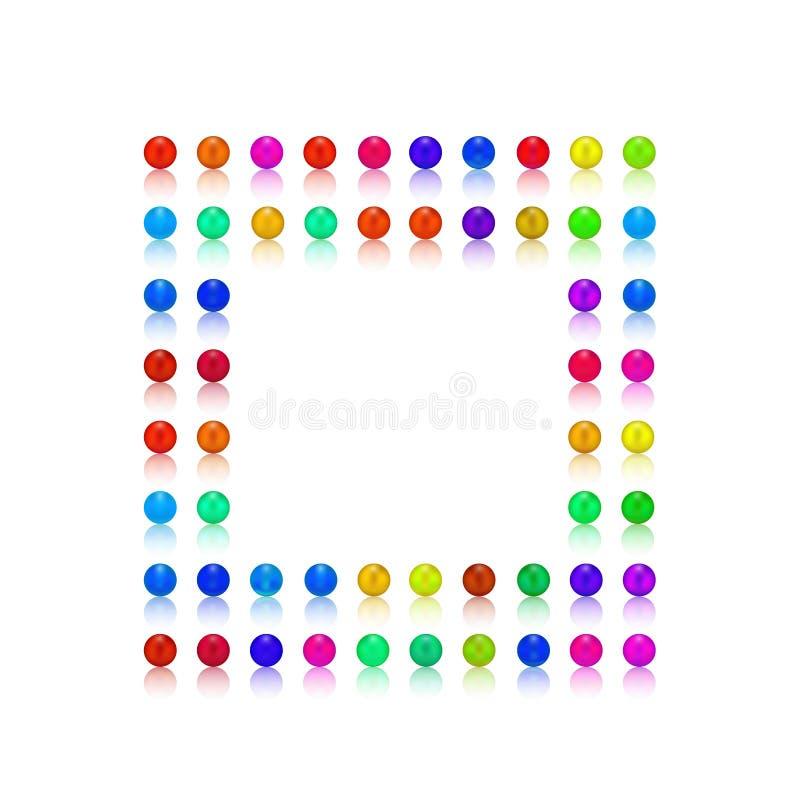Parel, suikergoed kleurrijke rammen als kader royalty-vrije stock afbeelding