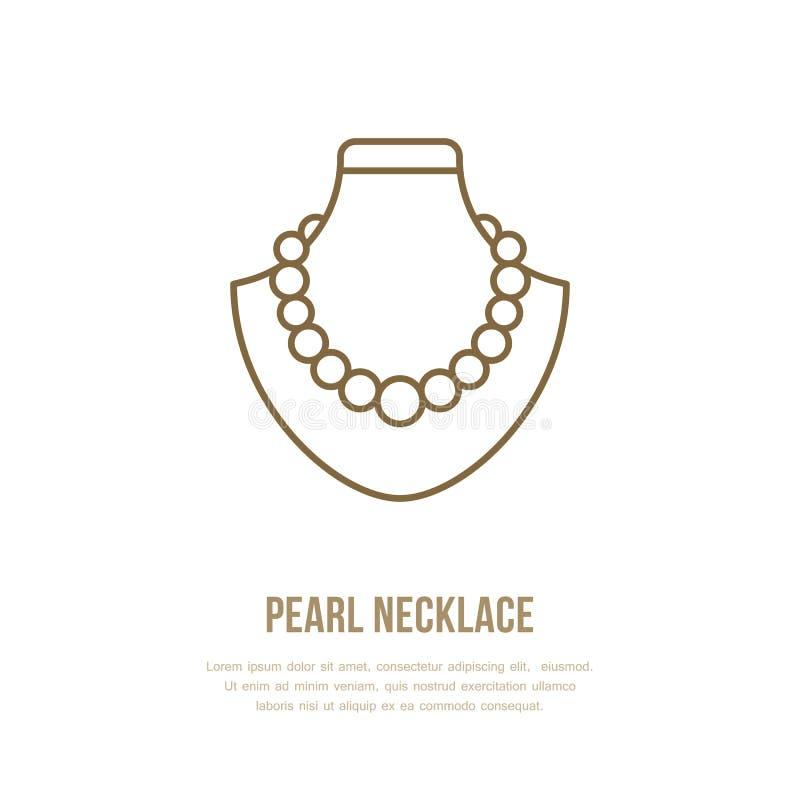Parelhalsbanden op proefillustratie Pictogram van de juwelen het vlakke lijn, het embleem van de juwelenopslag Het teken van juwe vector illustratie
