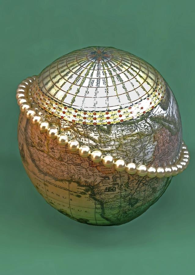 Parelparels op een bol van een struisvogelei dat wordt gemaakt stock foto
