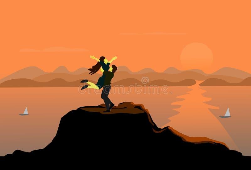 Paren die omhelzing springen bij de bovenkant van de berg Het overzees en de zonsondergangachtergrond vector illustratie
