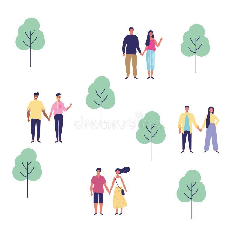 Paren in het park stock illustratie