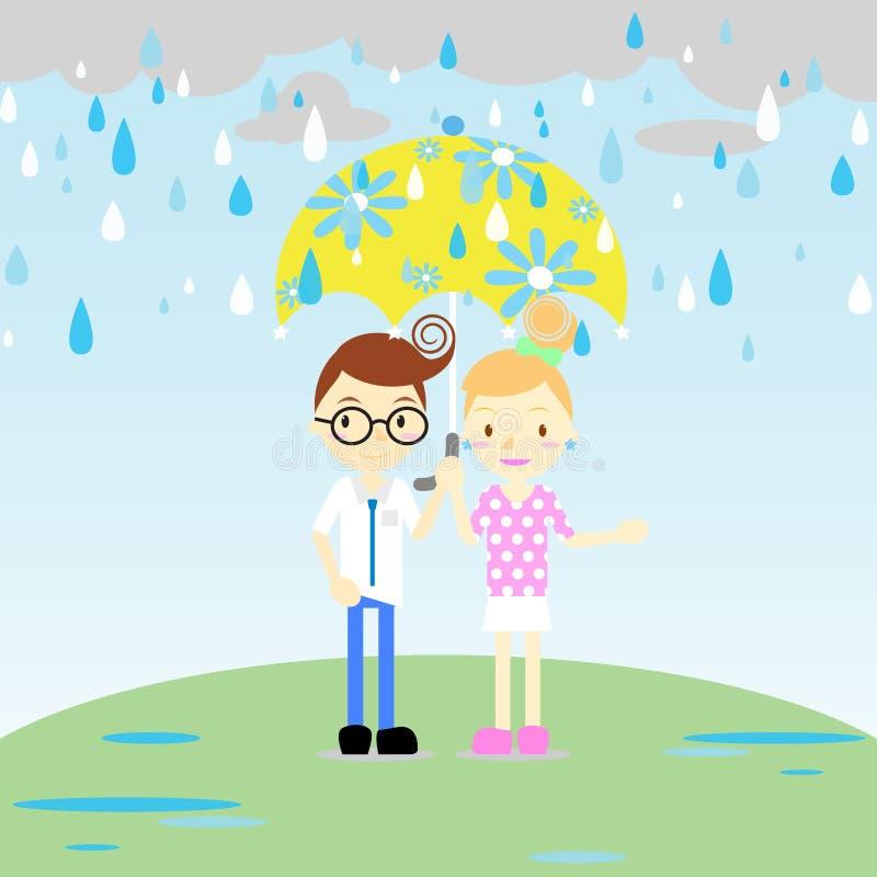 Paren i regnet vektor illustrationer
