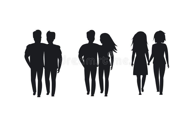 Paren van verschillende seksuele geaardheidsilhouetten stock illustratie