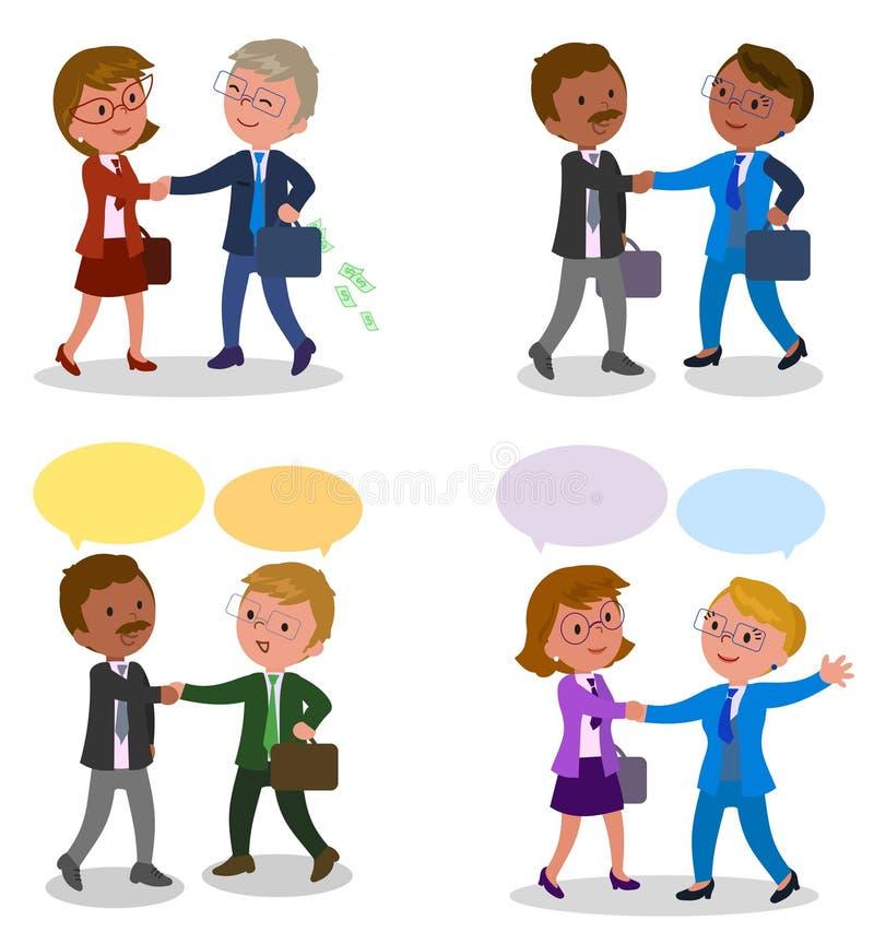 Paren zakenman het schudden handen royalty-vrije illustratie