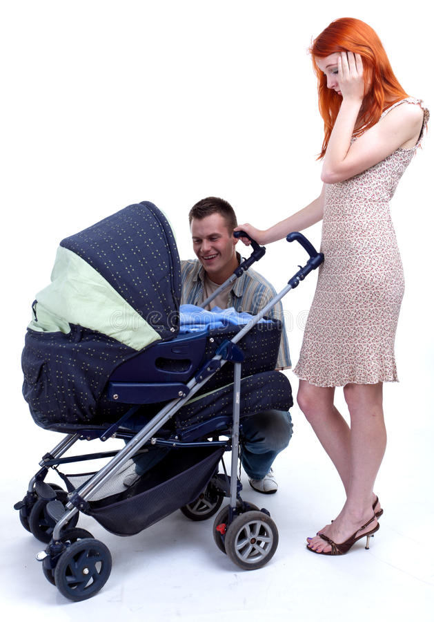 Parent With Baby Stroller Royalty Free Stock Images
