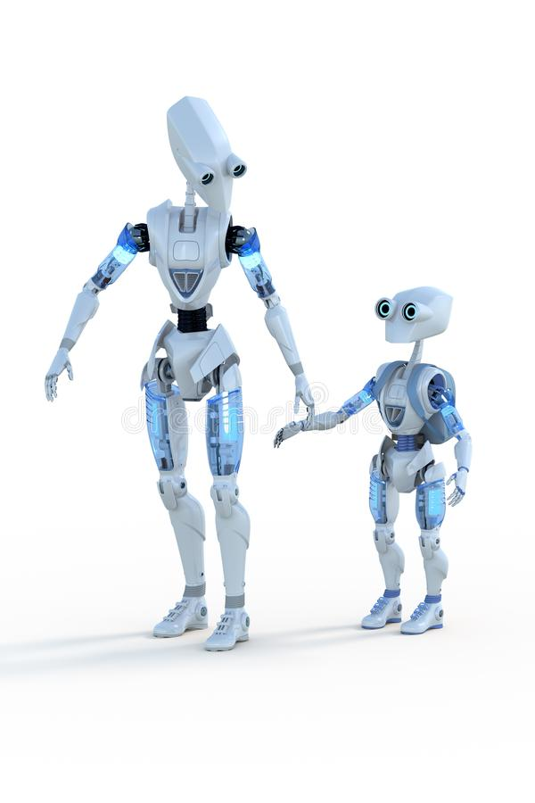 Father and Son robots royalty free stock image