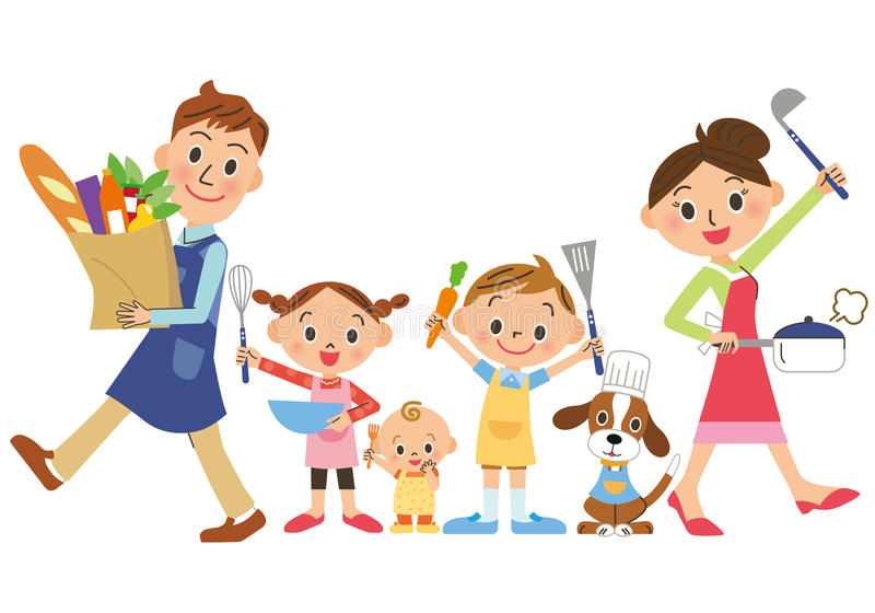Parent and child who enjoy cooking vector illustration