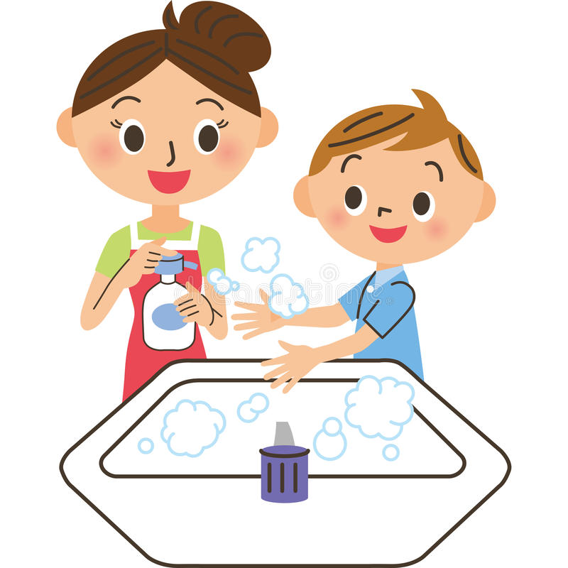 Parent and child who wash their hands. Parent and child to inquire into by hand-washing neatly vector illustration