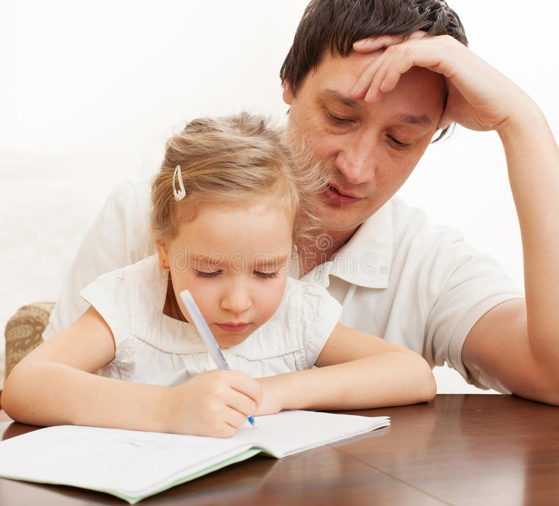 Download Parent with child writing stock image. Image of children - 42673995