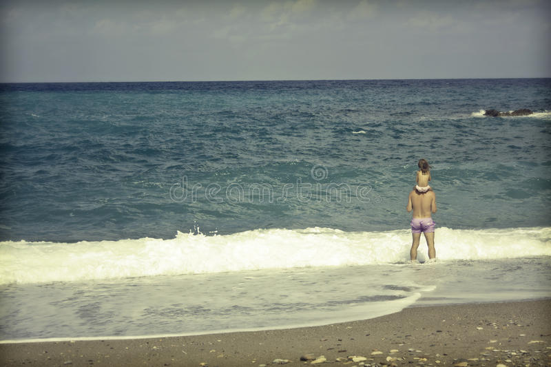 Download Parent With His Daughter On The Beach Stock Photo - Image: 38360648