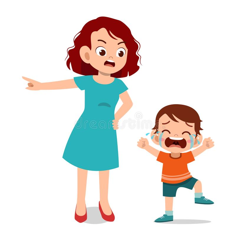 parent with kid child cry illustration royalty free illustration