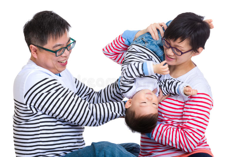 Parent play with baby son stock photo
