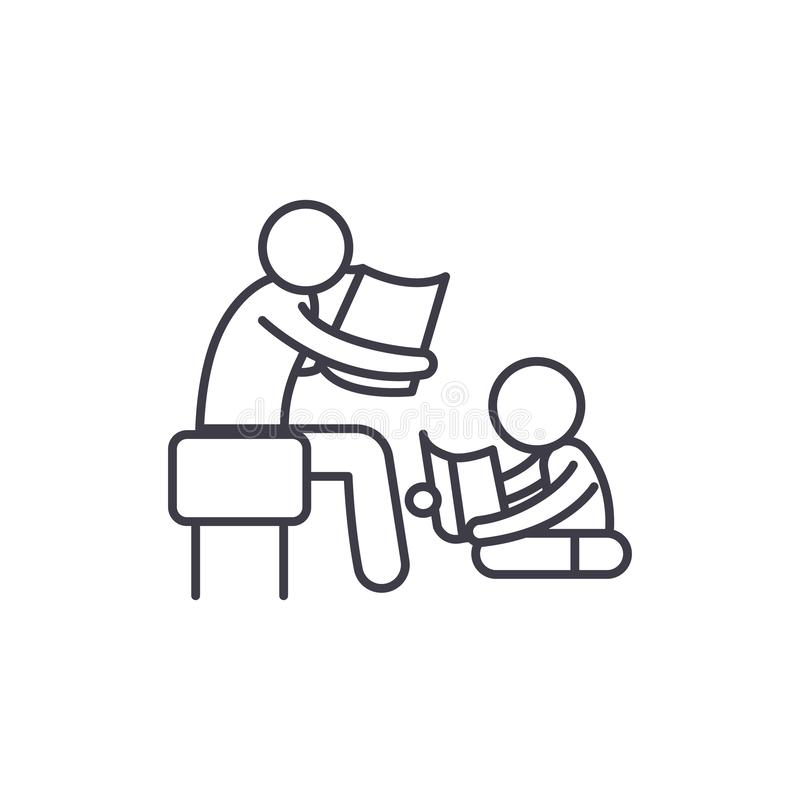 Parent reading a story to a child line icon concept. Parent reading a story to a child vector linear illustration royalty free illustration