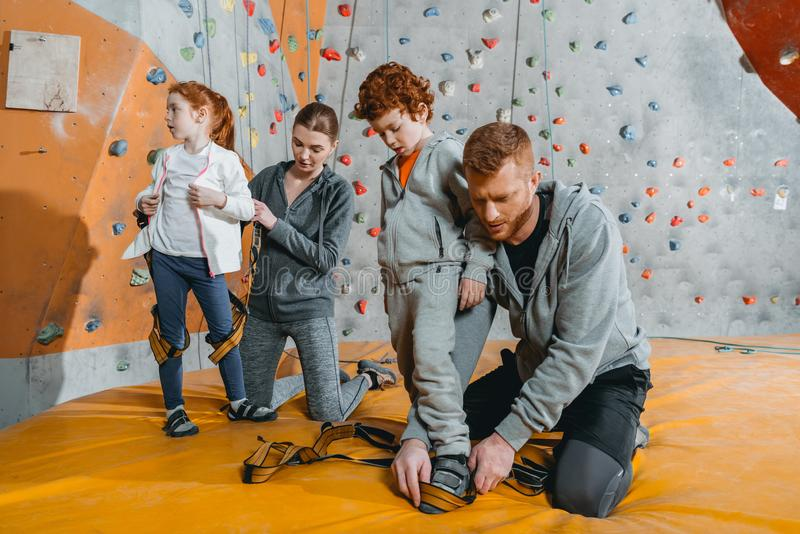 Parents securing their children in harnesses for climbing a wall with grips. At gym royalty free stock photography