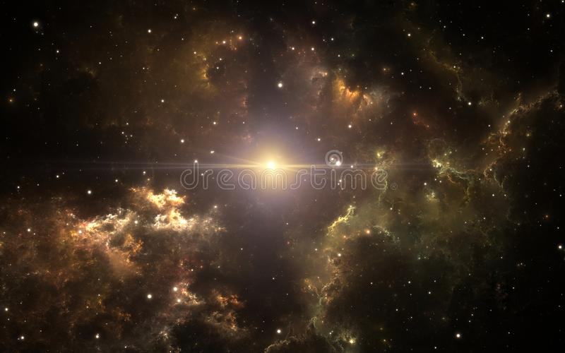 Parent supernova of our solar system. Interstellar cloud of dust and gas. Space background with nebula and stars. royalty free illustration