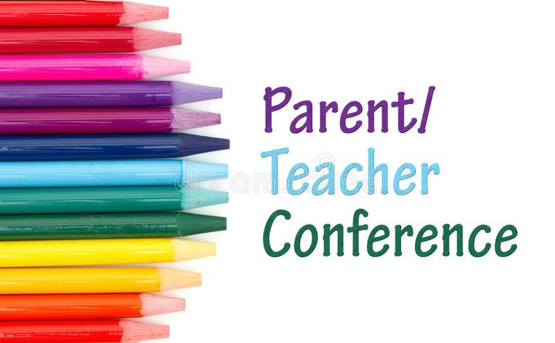 Parent Teacher Conference message with colored watercolor pencils. Over white stock illustration